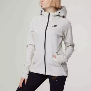 Nike Tech Fleece White Zip Athletic Sweatshirt Top
